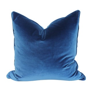 Cobalt Blue Italian Velvet Pillows - A Pair