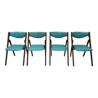 Wilkie Teal Vinyl & Wood Folding Chairs - Set of 4
