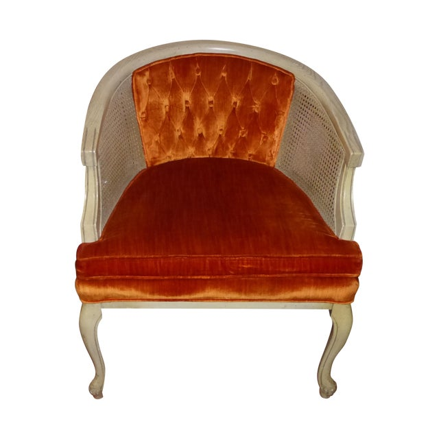 Vintage Cane & Orange Velvet Club Chair - Image 1 of 8
