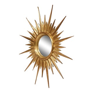 Mid-Century French Gold Leaf Sunburst Mirror With Convex Glass