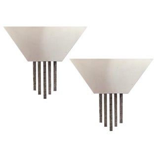 Contemporary Chrome Wall Sconces - A Pair