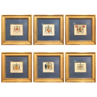 Set of Six English Family Hand-Painted Coat of Arms Etchings, Square Gilt Frame