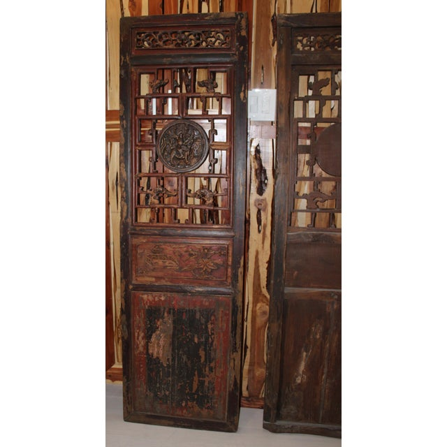 Antique Chinese Door Panels Wall Decor - A Pair - Image 6 of 9 - Antique Chinese Door Panels Wall Decor - A Pair Chairish