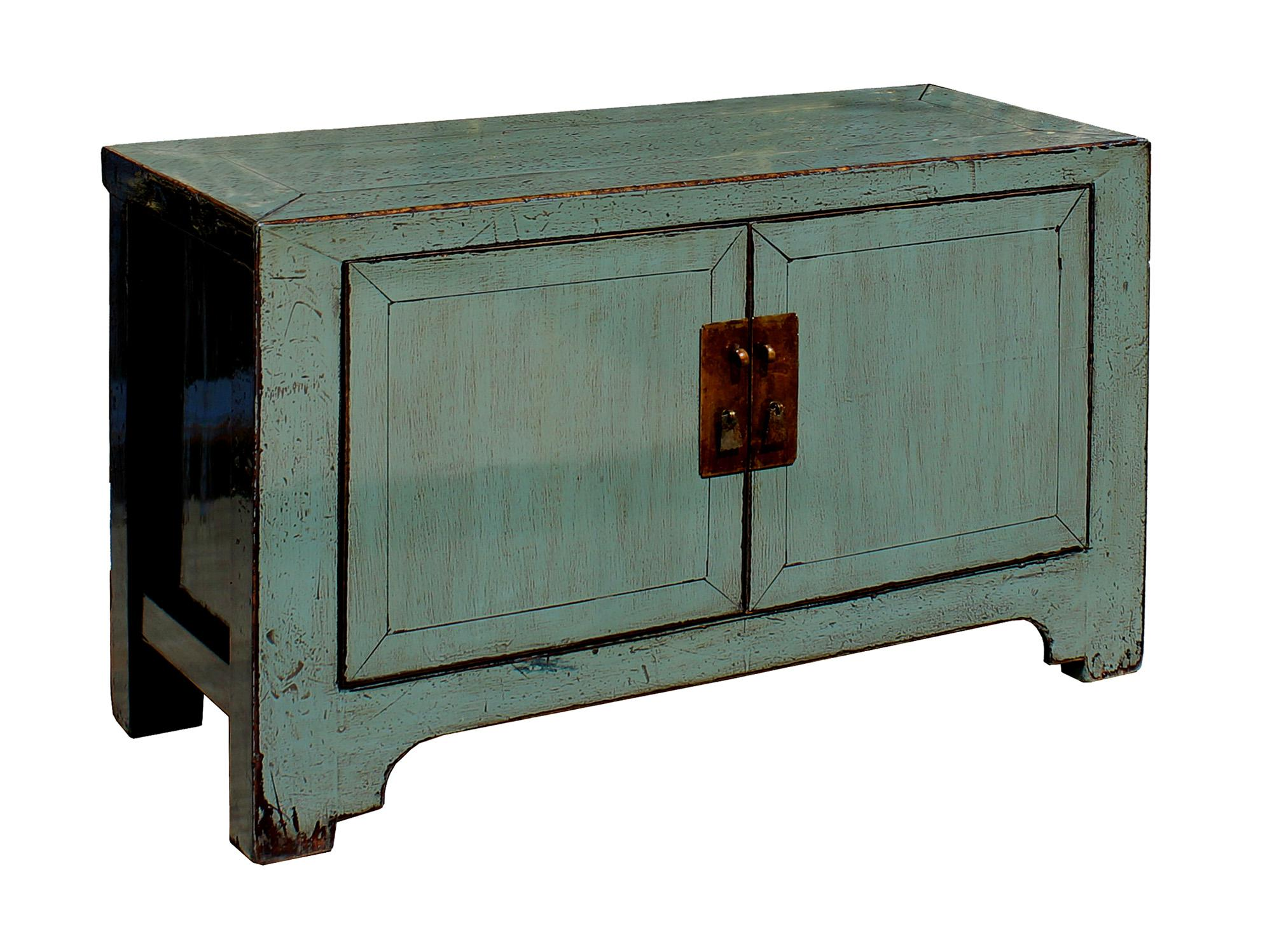 chinese distressed gray low tv console table cabinet image 3 of 7