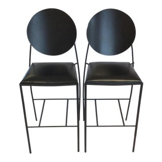 Italian-Style Black Iron and Leather Stools -- A Pair
