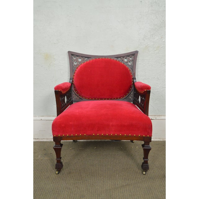 Antique 19th Century Aesthetic Mahogany Arm Chair (possibly Herter Brothers) - Image 2 of 11
