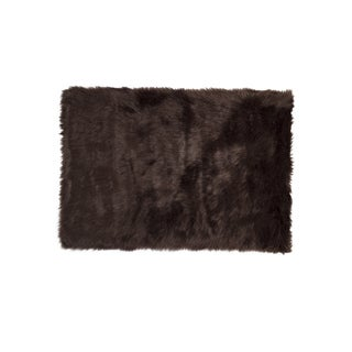 Hudson Chocolate Faux Sheepskin Rug - 2' x 3'