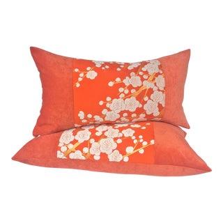 Japanese Plum Blossom Obi and Velvet Pillows - A Pair