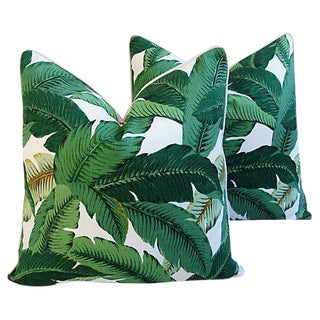 Large Custom Tropical Iconic Banana Leaf Feather/Down Pillows - a Pair