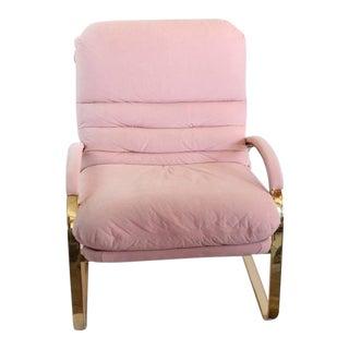 Stylish Milo Baughman Style Brass Lounge Chair