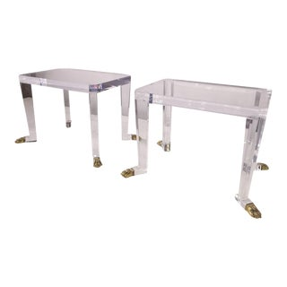 Over the Top Custom Designed Lion Feet on Acrylic Side Tables