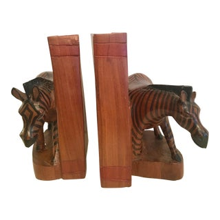 Hand-Carved Kenyan Zebra Bookends