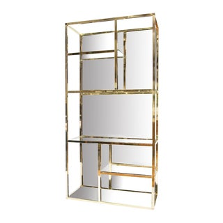 Bronzed Mirror Back Brass Etagere