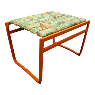 Samsonite Mid-Century Orange Iron Outdoor Ottoman