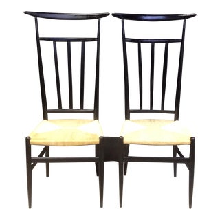 Black Italian High Back Chairs - Pair