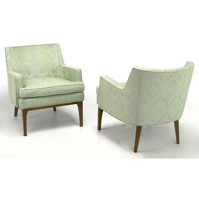 Pair of Classic Barrel-Back Club Chairs in Ikat Upholstery - Image 2 of 7