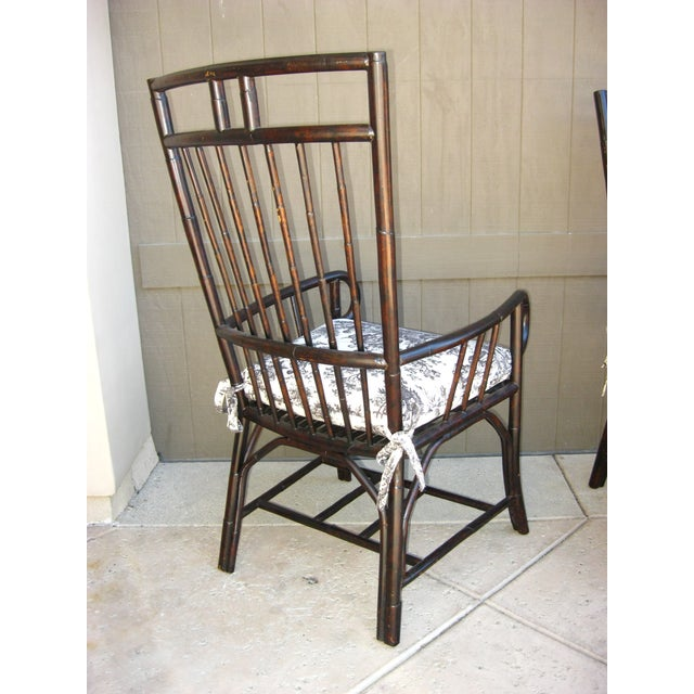 Black French Country Style Bamboo Chairs - Pair - Image 6 of 11