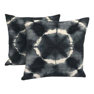 African Grey Tie Dye Mud Cloth Pillows - a Pair