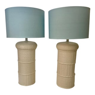 Mid-Century White Ceramic Table Lamps - A Pair