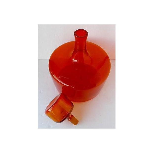 Large Orange Handblown Art Glass Bottle - Image 4 of 5
