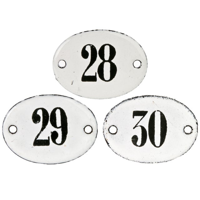 Image of Vintage French Hotel Room Numbers - Set of 3