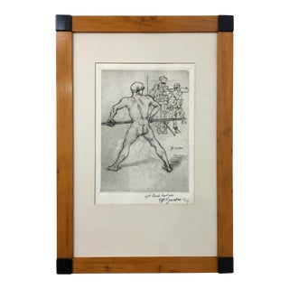 Hermann Groeber Framed Etching, Signed and Dated 1919