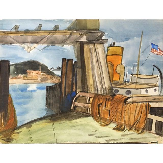 San Francisco Bay Alcatraz Mid Century Watercolor - Image 1 of 4