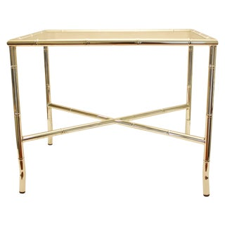 Chrome Faux Bamboo End Table with Smoked Glass Top