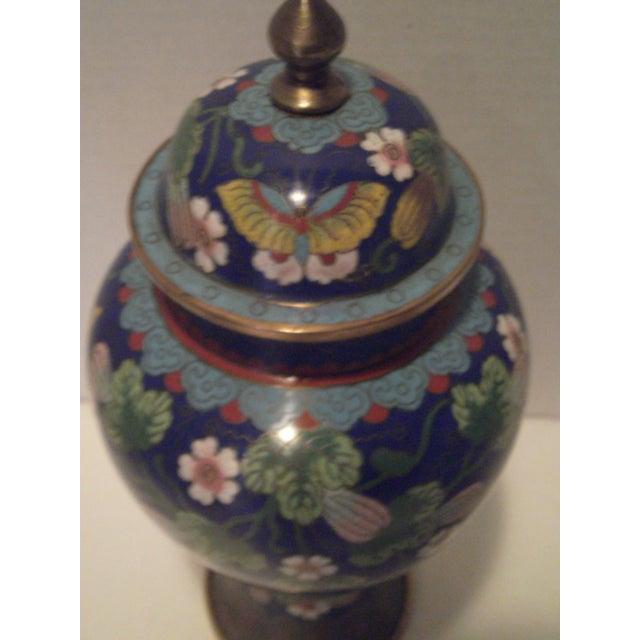 Cobalt Blue Cloisonne Covered Ginger Jar - Image 5 of 11