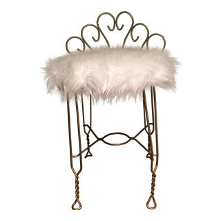 Hollywood Regency Brass & Faux Fur Vanity Chair