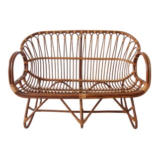 Vintage Mid Century Modern Rattan and Bamboo Love Seat Sofa