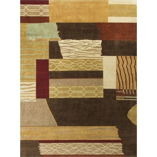 "Contemporary Hand-Knotted Wool Rug - 8'11"" x 11' 7"""