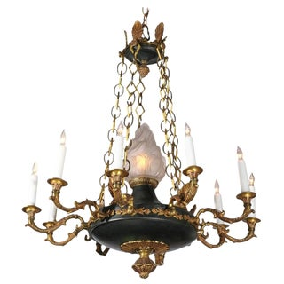 French 1920s Empire Style Ten-Light Chandelier with Central Frosted Glass Flame