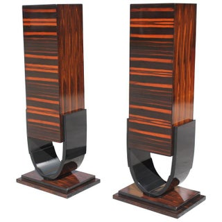 French Art Deco Macassar Ebony Pedestals, Circa 1940s- A Pair