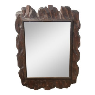 Brutalist Style Wood Hanging Mirror