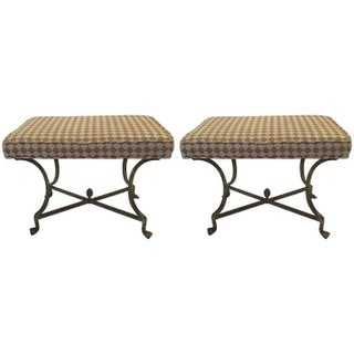 Italian Upholstered Iron X Benches - Pair