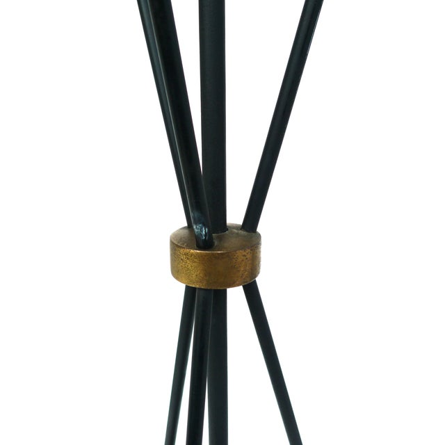 Jacques Adnet-Style Black & Brass Floor Lamp - Image 7 of 8