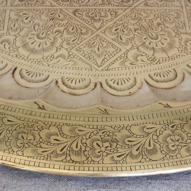 Vintage Persian Engraved Brass Tray - Image 3 of 6