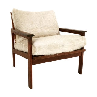 Illum Wikkelso Lounge Chair in Ivory Cowhide