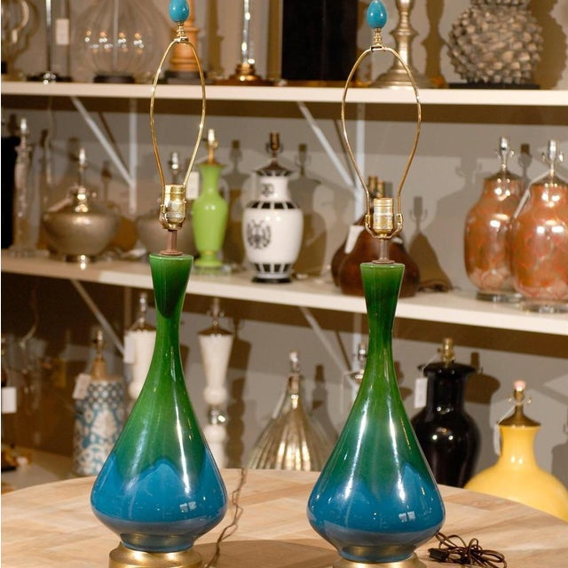 Mid-Century Green and Blue Glazed Lamps - Pair - Image 2 of 6