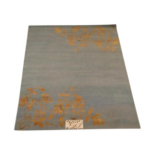 Tibetan Blue Wool & Silk Rug - 5' X 7'