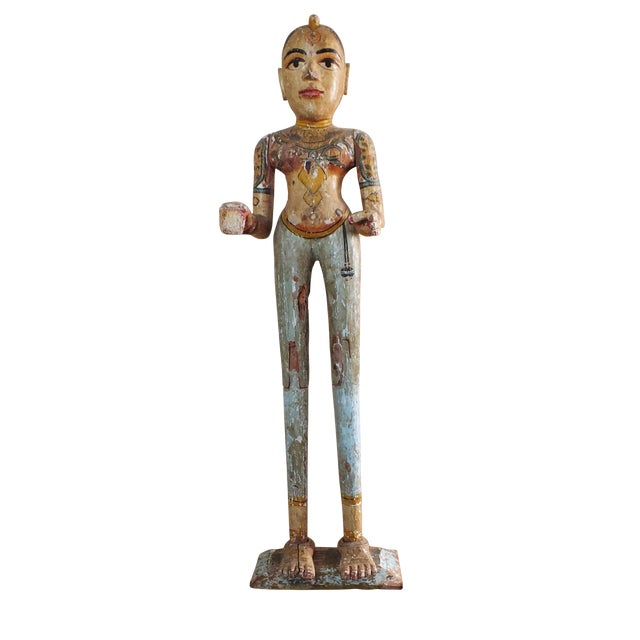 """41"""" Tall Antique Asian Indian Carved Wood Statue - Image 1 of 11"""