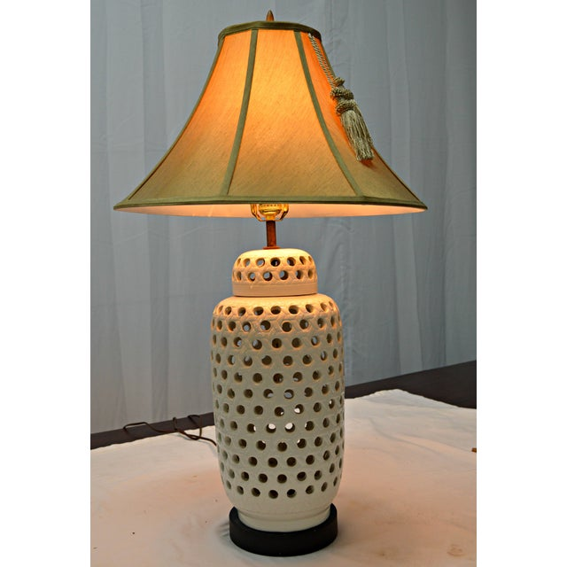 Mid-Century White Perforated Porcelain Table Lamp - Image 8 of 9