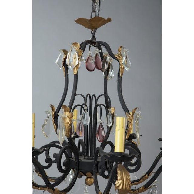 French Eight Light Iron Gilt & Crystal Chandelier - Image 5 of 6