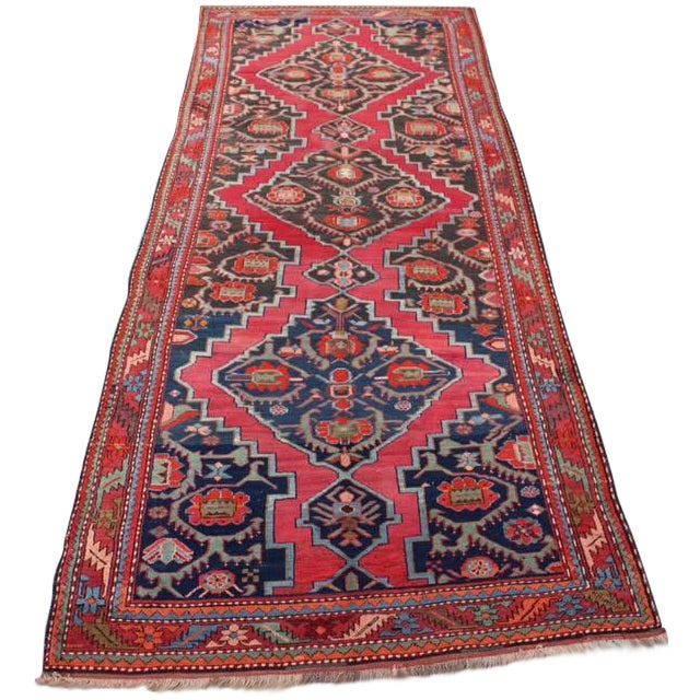 "Semi-Antique Caucasian Kazak Runner - 4'4"" x 10'1"" - Image 1 of 9"