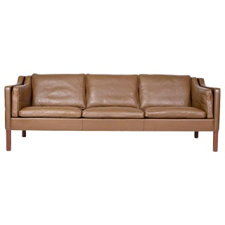 Borge Mogensen Model #2213 Three-Seat Leather Sofa