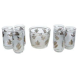 60's Silver Leaf Beverage Set - Set of 7