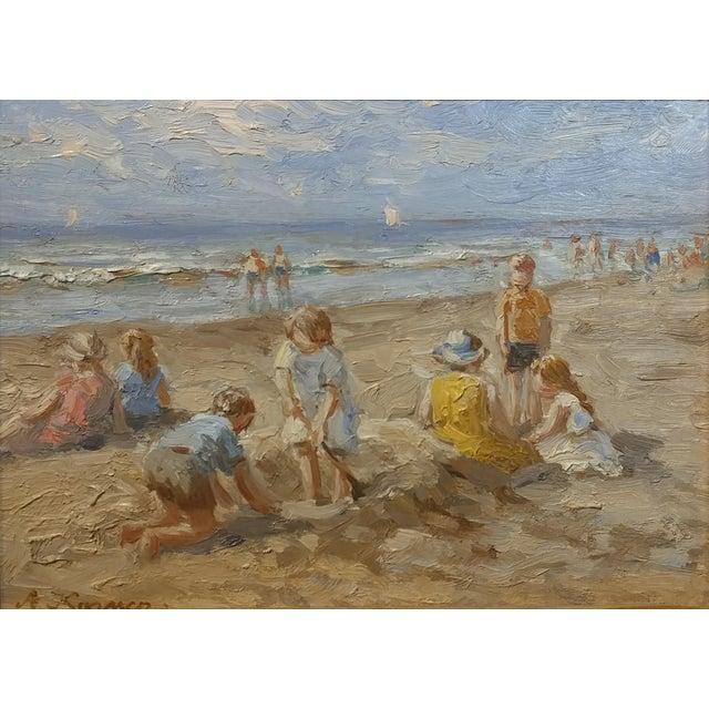 "Anton Karssen ""Children Day at the Beach"" Original Oil Painting - Image 3 of 10"