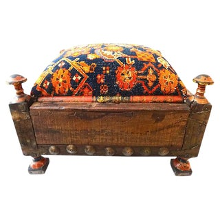 Antique Indian Ottoman w/ Malayer Rug