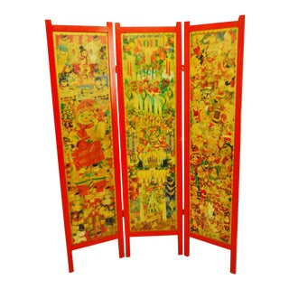Vintage Victorian Style 3 Panel Christmas Decoupage Folding Screen Room Divider